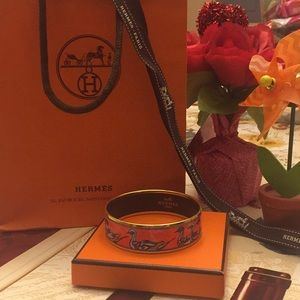 Authentic Hermès Bangle Enamel Duck Designs GM